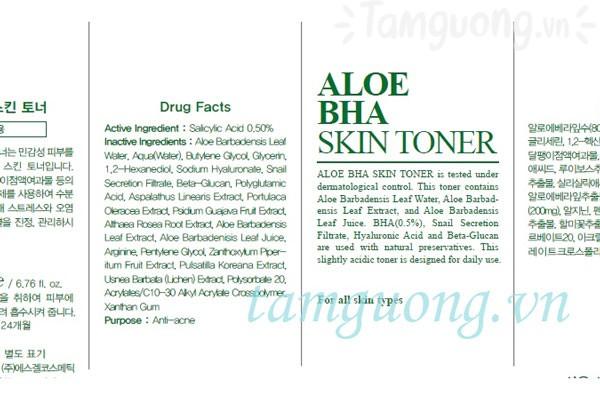 Các thành phần được công bố trên bao bì của BENTON Aloe Skin Toner.