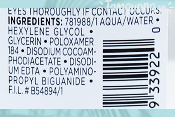 Các thành phần công bố của nước tẩy trang L'Oreal tương đối lành tính.