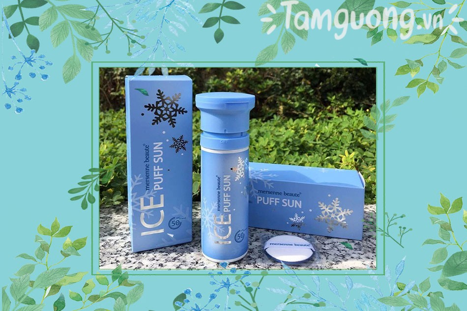 Kem chống nắng Ice Sun Xanh- Ice Puff Mersenne Beaute- 3 trong 1 SPF50+ PA++++