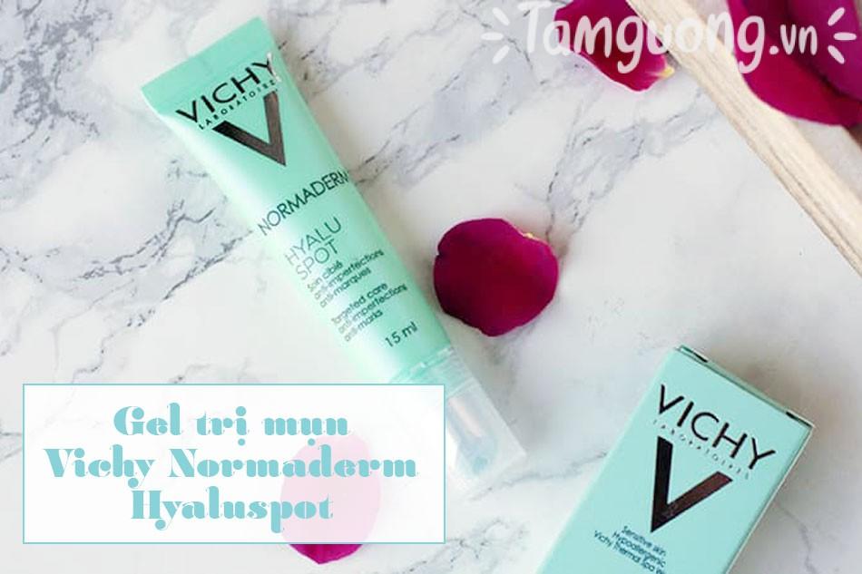 Đặc điểm bao bì, thiết kế, mùi hương của gel trị mụn nhanh Vichy Normaderm Hyaluspot