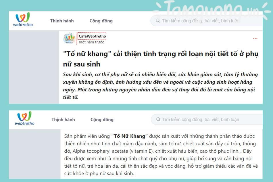 Review về Tố Nữ Khang trên Webtretho