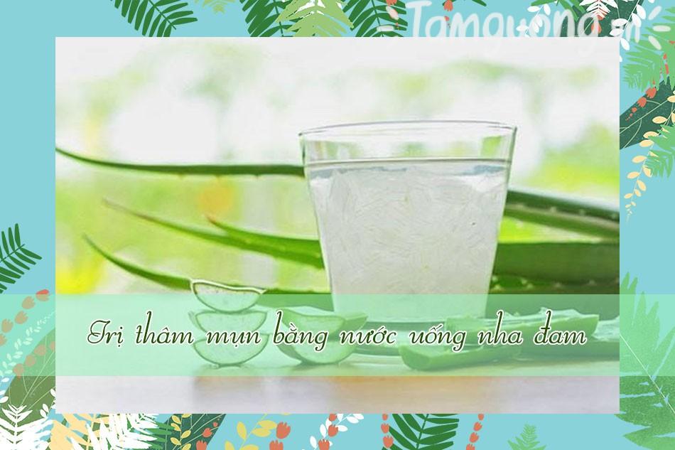 Trị thâm mụn bằng nước uống nha đam