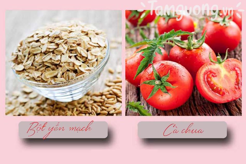 Bột yến mạch trị mụn và cà chua
