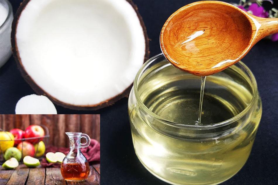 Giấm táo và dầu dừa trị mụn và dưỡng da
