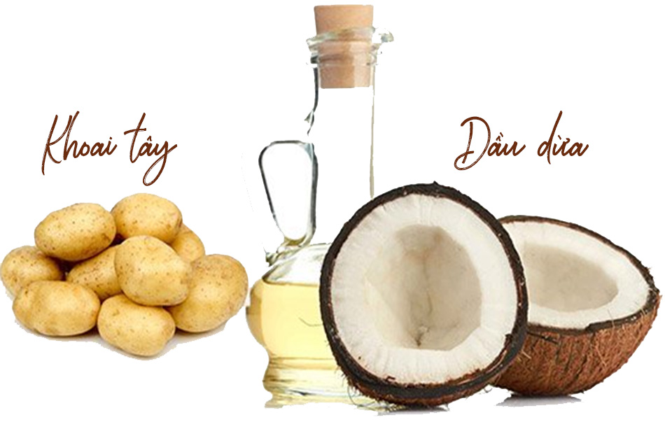 Trị mụn bằng dầu dừa và khoai tây