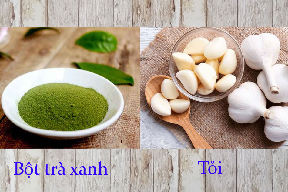 Cách trị mụn bằng tỏi và bột trà xanh