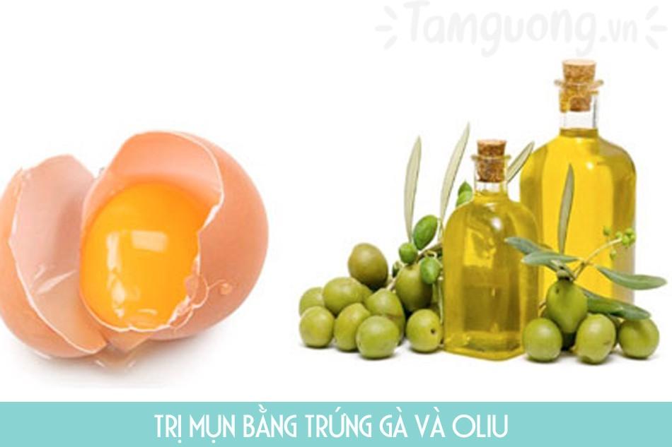 Trị mụn bằng trứng gà và dầu oliu
