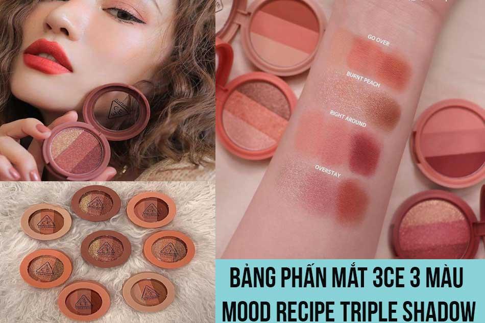 Bảng phấn mắt 3CE 3 màu Mood Recipe Triple Shadow