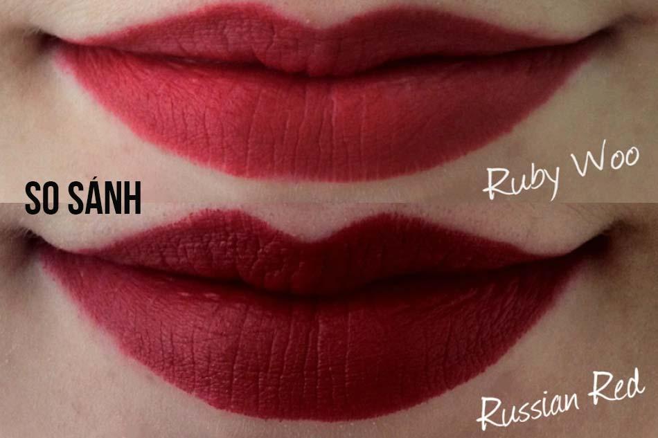 Son Mac Russian Red và son Mac Ruby Woo