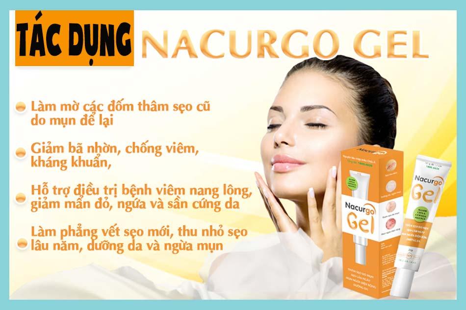 Thuốc bôi Nacurgo Gel có tác dụng gì?