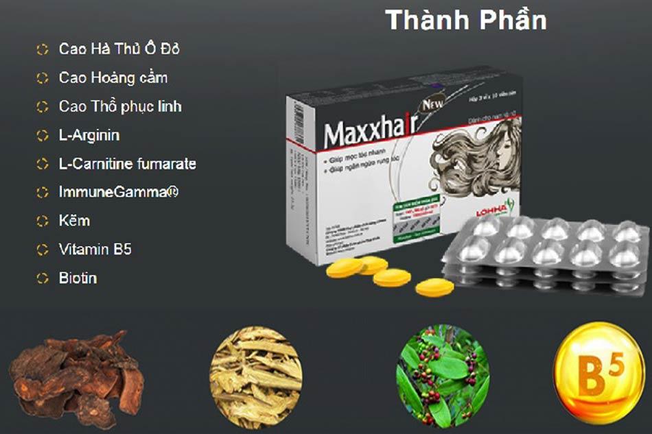 Thành phần của viên uống ngăn rụng tóc Maxxhair Thái Minh