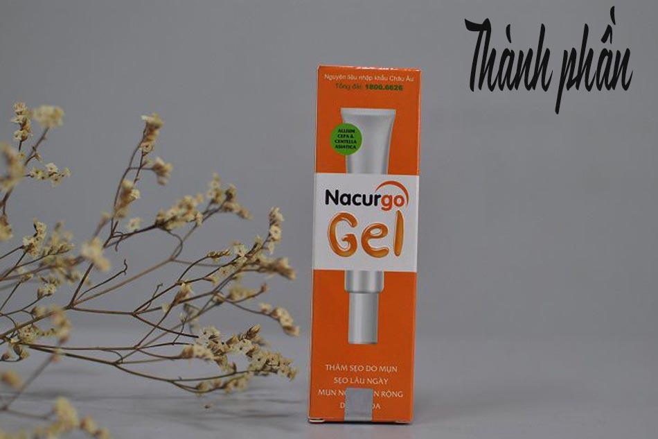 Thành phần của Nacurgo Gel trị mụn