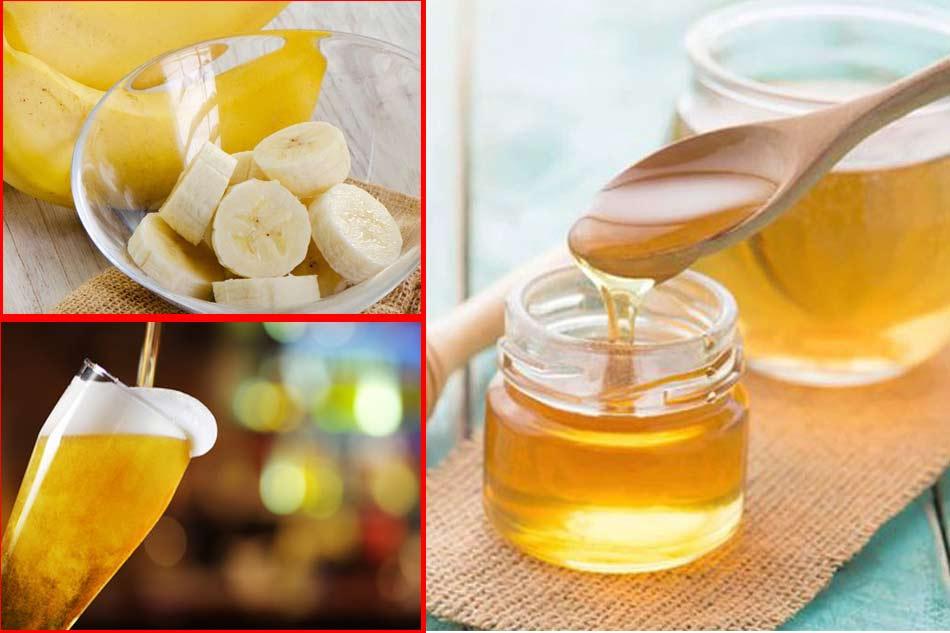 Ủ tóc bằng bia và chuối, mật ong cho tóc khô