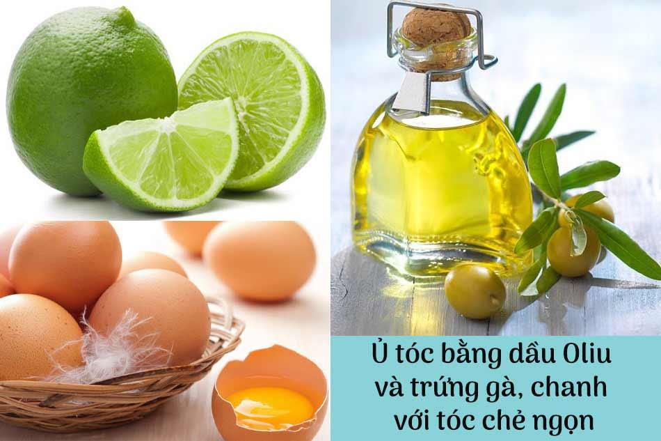 Cách ủ tóc bằng dầu Oliu và trứng gà, chanh với tóc chẻ ngọn