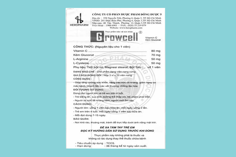 Giấy chứng nhận viên uống Growcell
