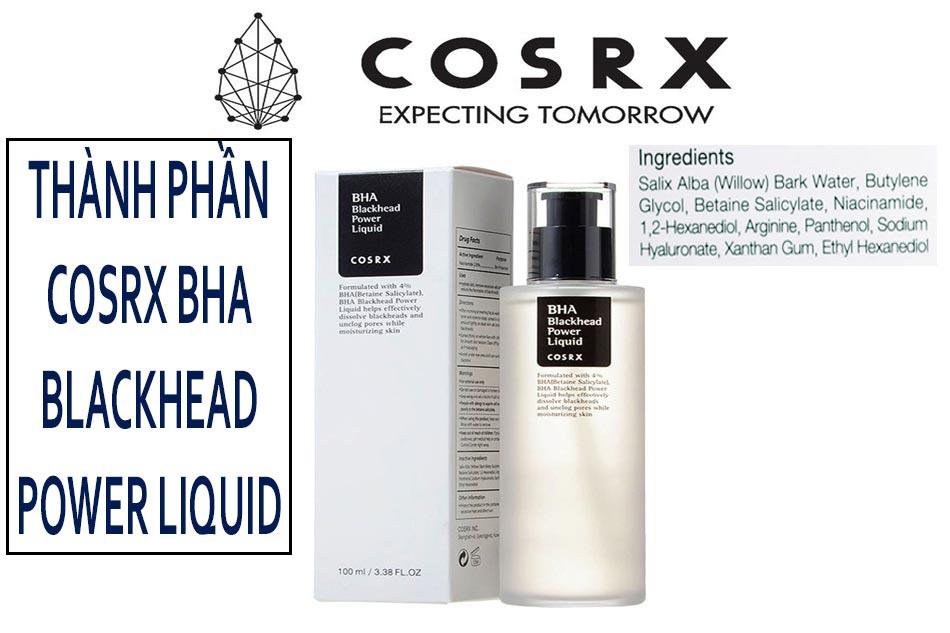 Thành phần dung dịch tẩy tế bào chết Cosrx BHA Blackhead Power Liquid