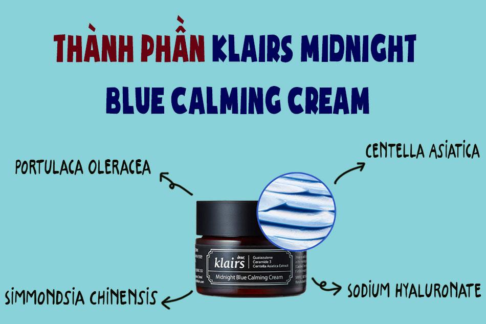 Thành phần Klairs Midnight Blue Calming Cream