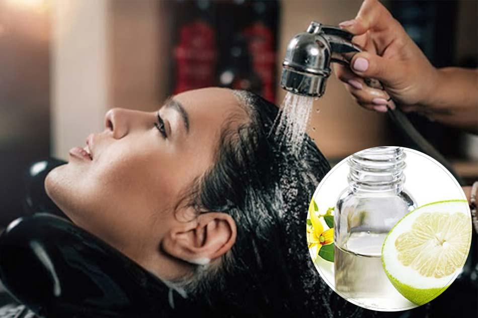 Gội đầu thường xuyên bằng tinh dầu bưởi trị rụng tóc