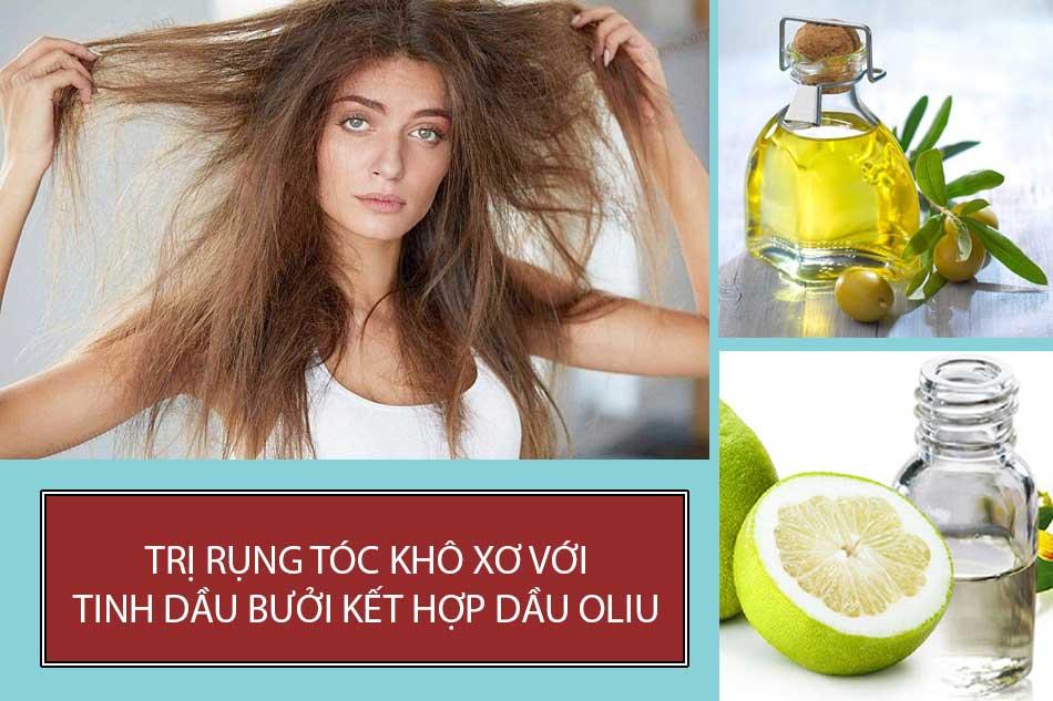 Trị rụng tóc khô xơ với tinh dầu bưởi kết hợp dầu Oliu