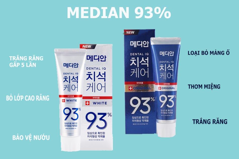 Công dụng kem đánh răng Median 93%