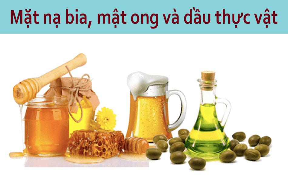 Mặt nạ bia, mật ong, dầu thực vật dành cho da khô
