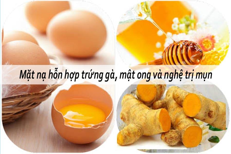 Mặt nạ hỗn hợp trứng gà, mật ong và nghệ trị mụn