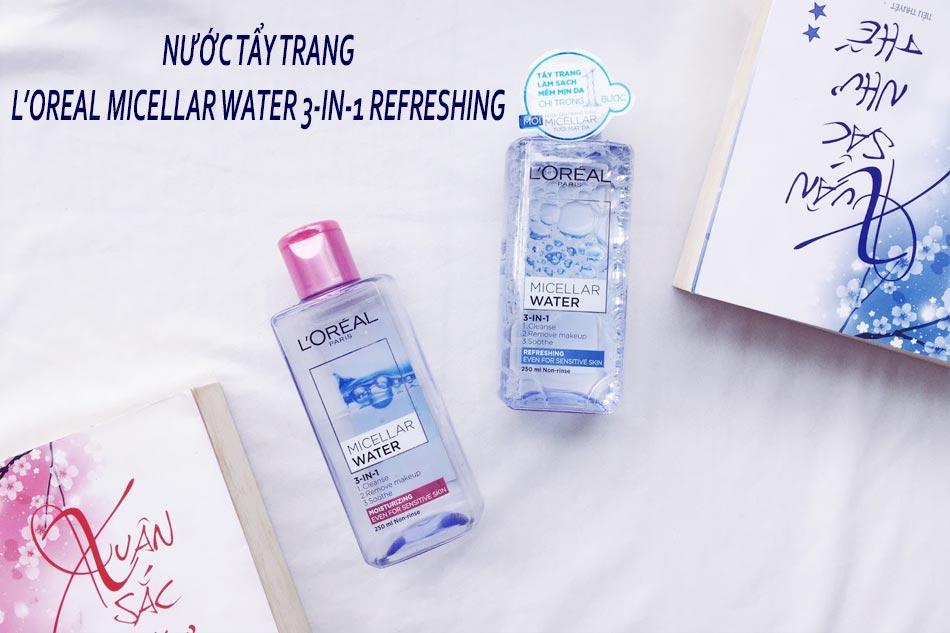 Nước tẩy trang không cồn L'Oreal Micellar Water 3-in-1 Refreshing dành cho da khô