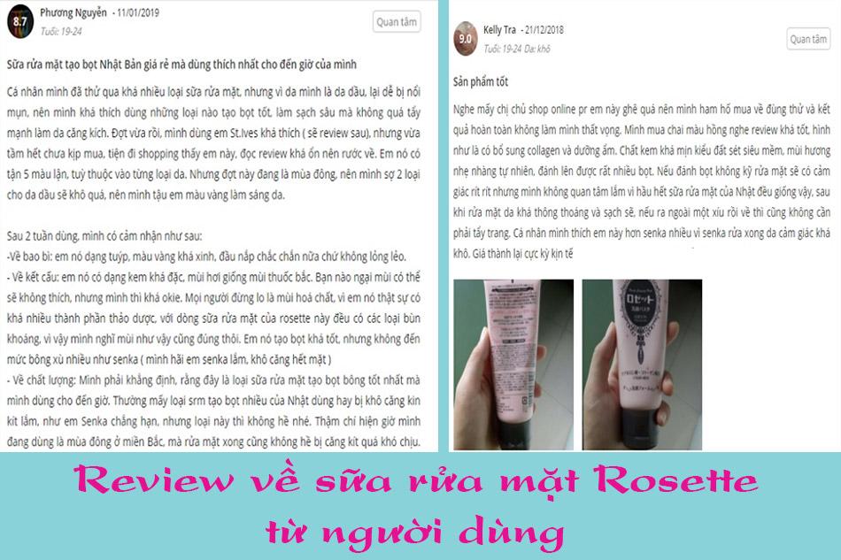 Review về sữa rửa mặt Rosette từ người dùng
