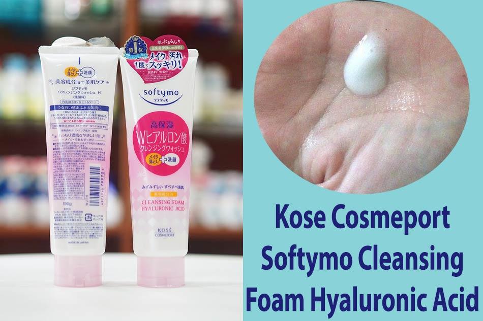 Sữa rửa mặt tẩy trang Kose Cosmeport Softymo Cleansing Foam Hyaluronic Acid màu hồng