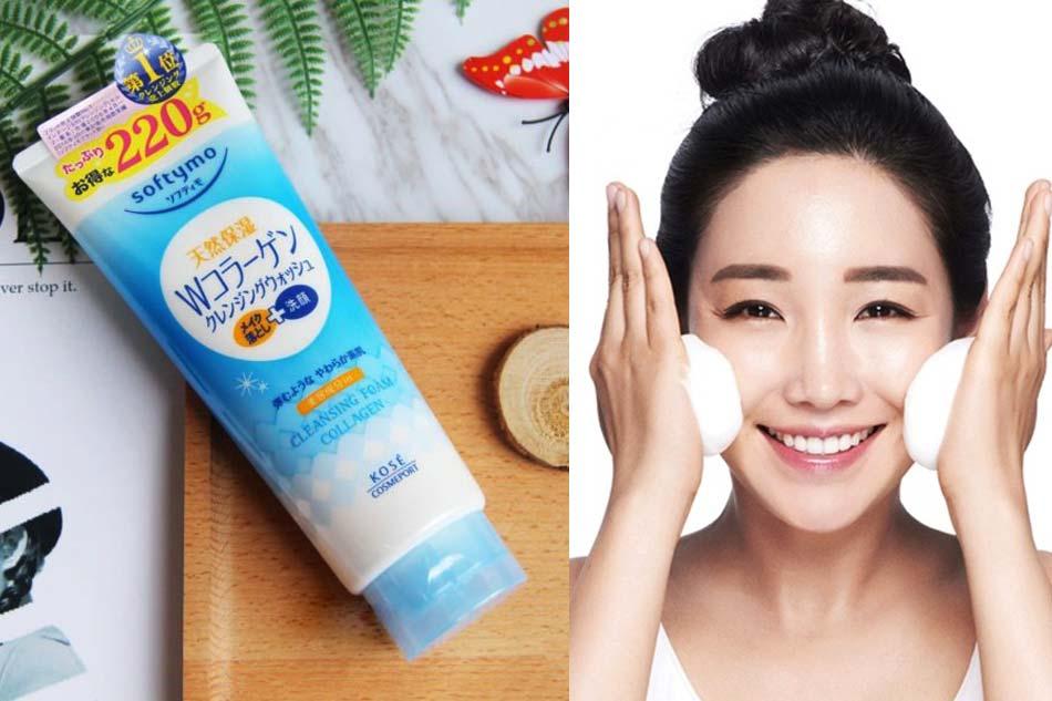 Sữa rửa mặt tẩy trang Kose Cosmeport Softymo Cleansing Foam Collagen màu xanh