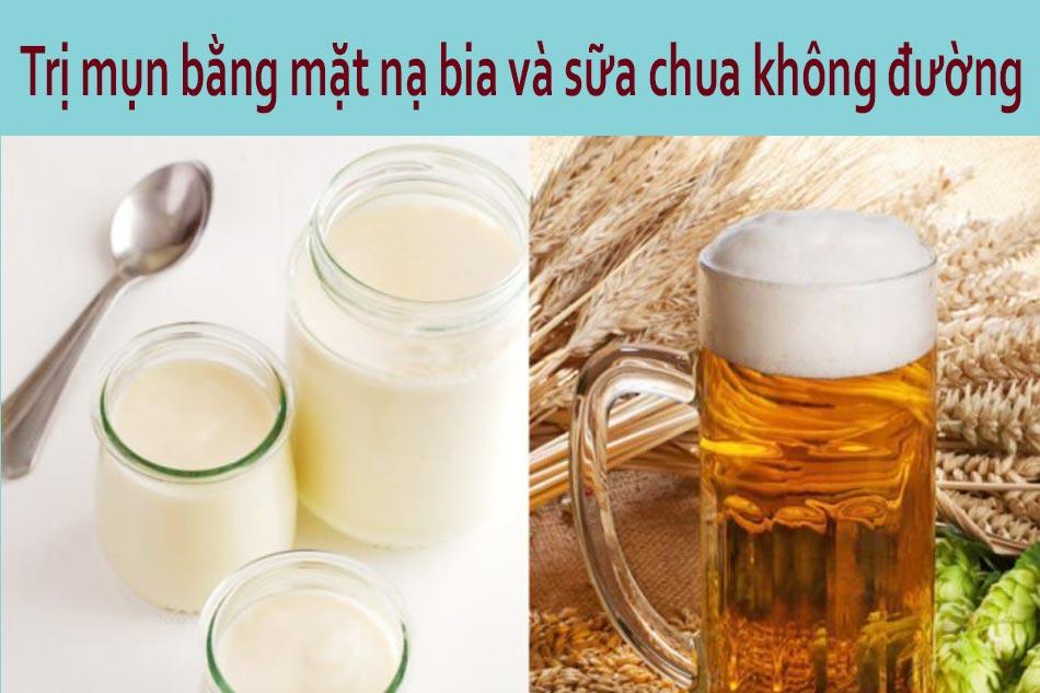 Trị mụn bằng mặt nạ bia và sữa chua không đường cho da nhạy cảm