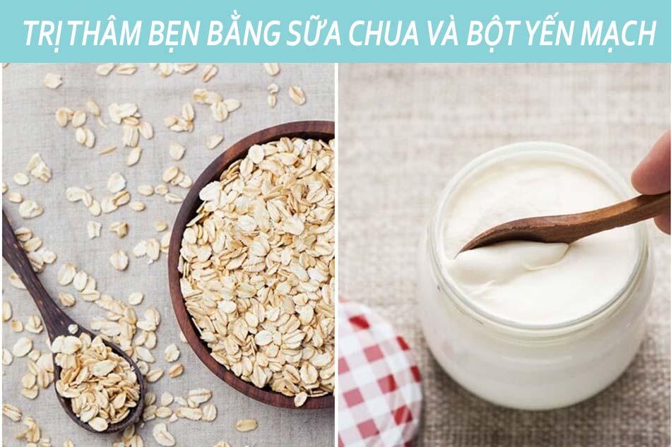 Làm mờ thâm bẹn háng bằng sữa chua bột yến mạch