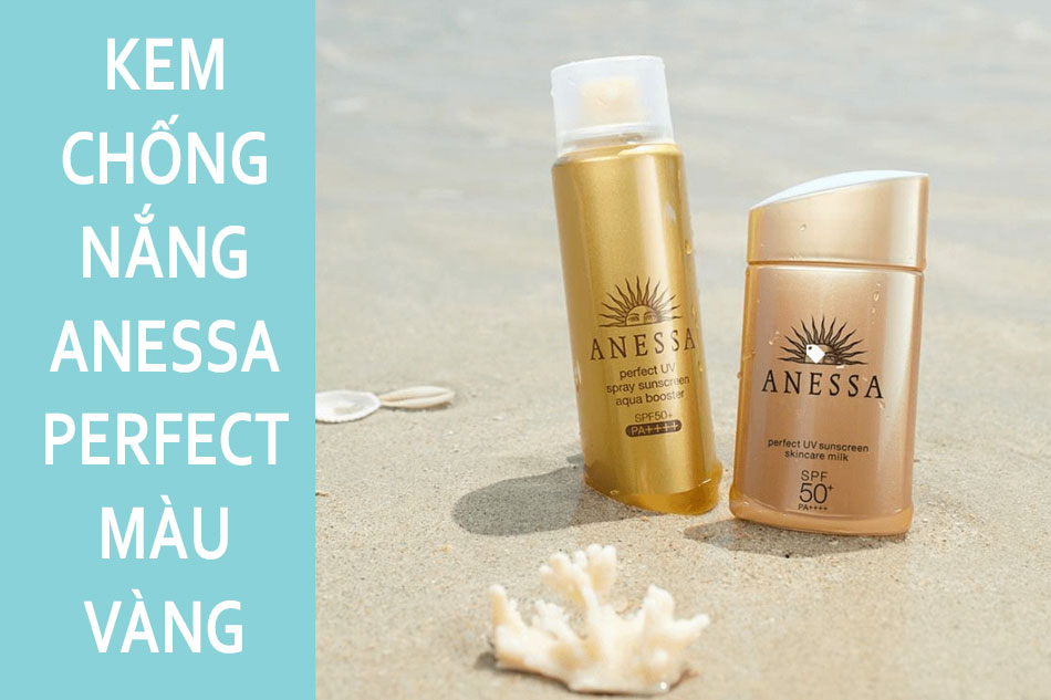 Kem chống nắng đi biển Anessa Perfect màu vàng